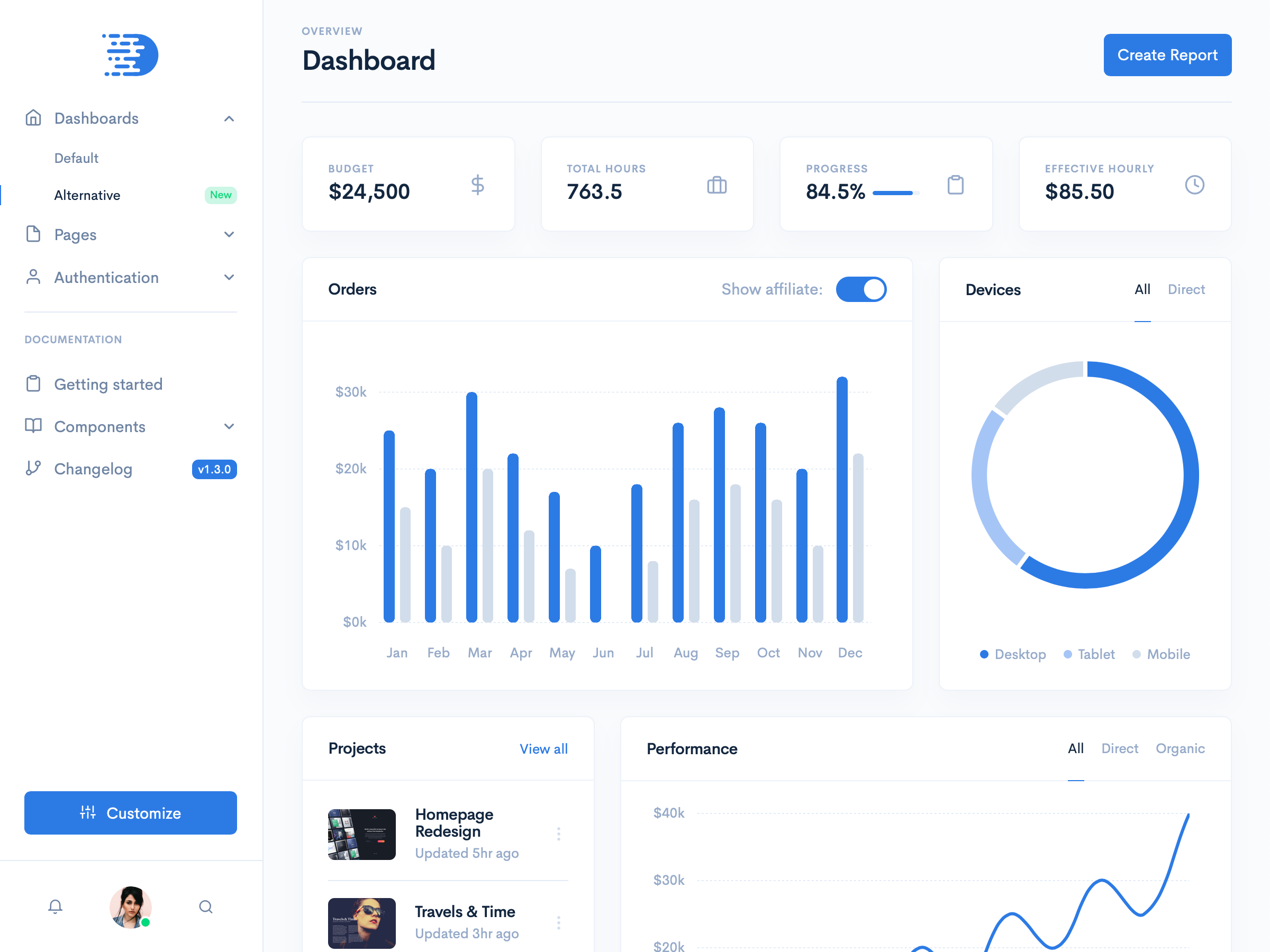 Admin & Dashboard Template (Dark/Light