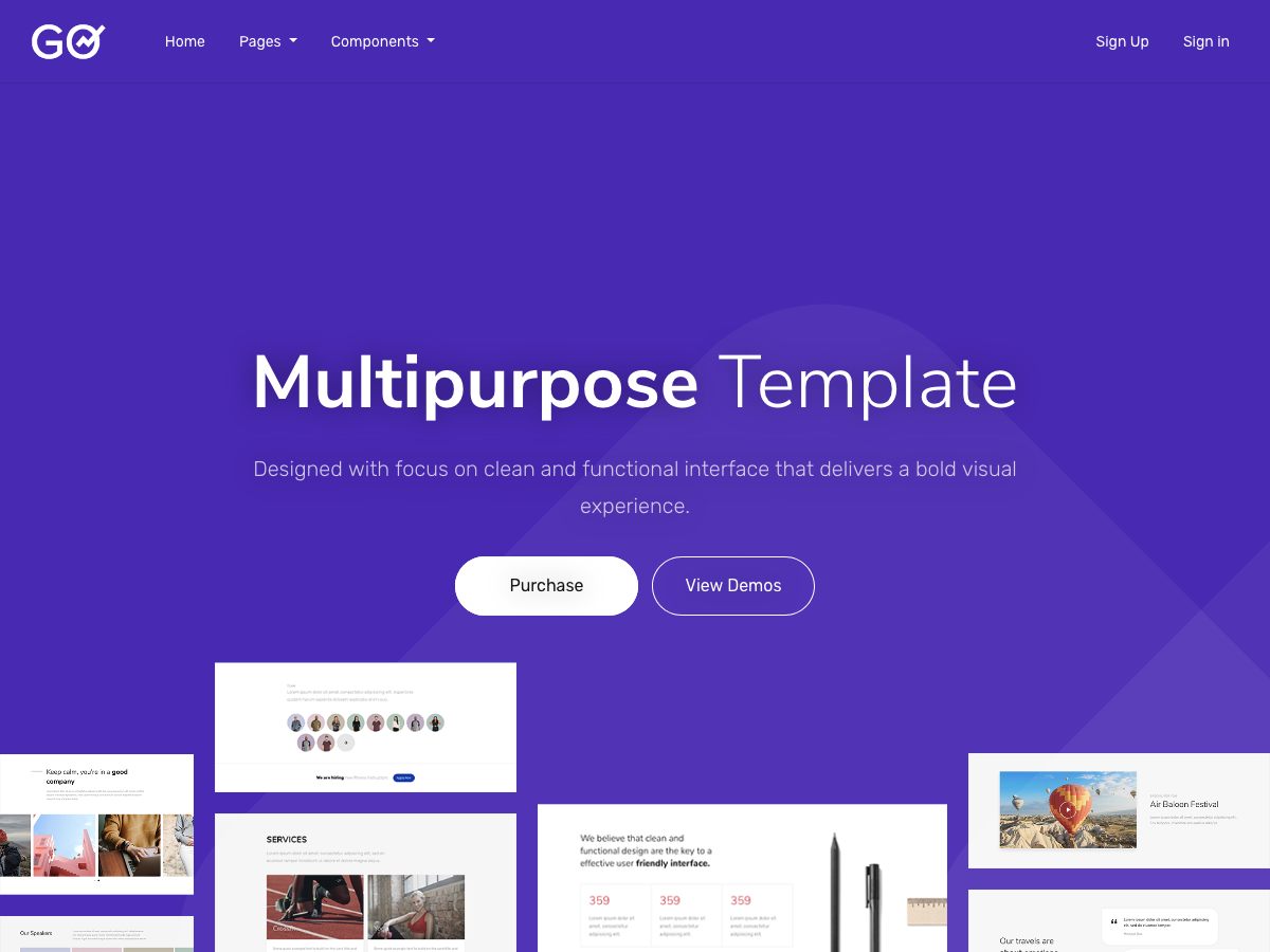 GO – Multipurpose Bootstrap Template - Bootstrap Themes