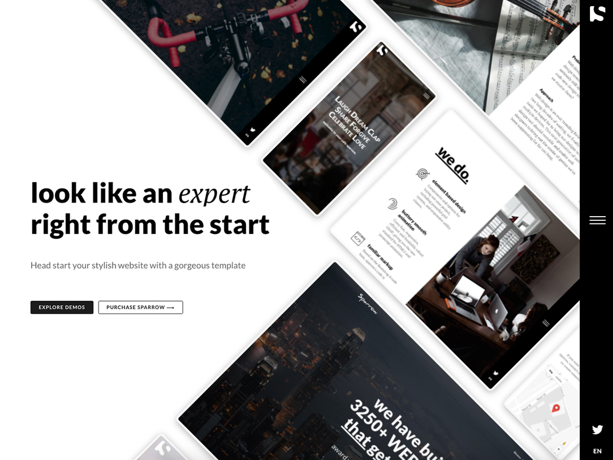 Sparrow – Simple. Seamless. Alive! - Bootstrap Themes