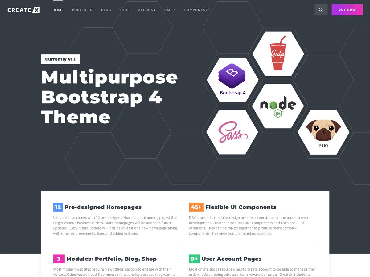CreateX – Multipurpose Template + UI Kit - Bootstrap Themes