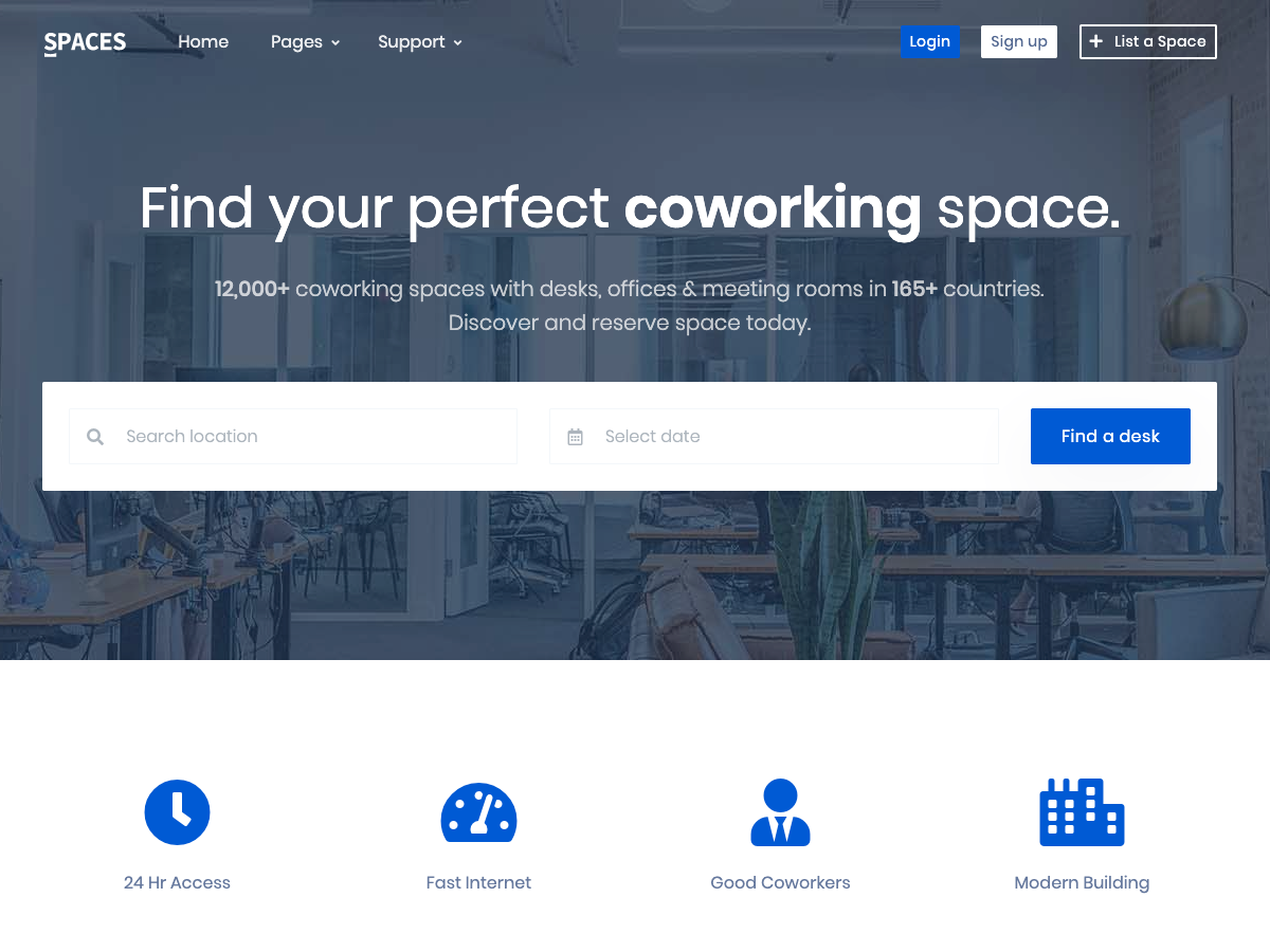 Spaces Real Estate Coworking Template Ui Kit Bootstrap Themes